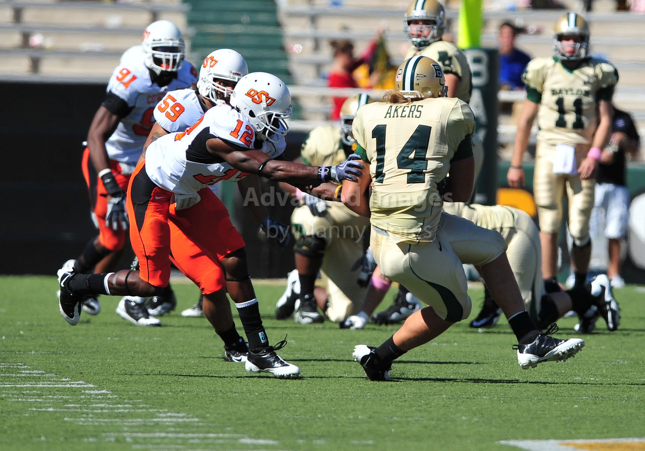 October 24th, 2009:  <br /> Baylor tight end Justin Akers #14<br /> in action during a NCAA Football game between the Oklahoma State Cowboys and Baylor Bears at Floyd Casey  Stadium in Waco, TX.  <br /> Oklahoma State wins 34-7.