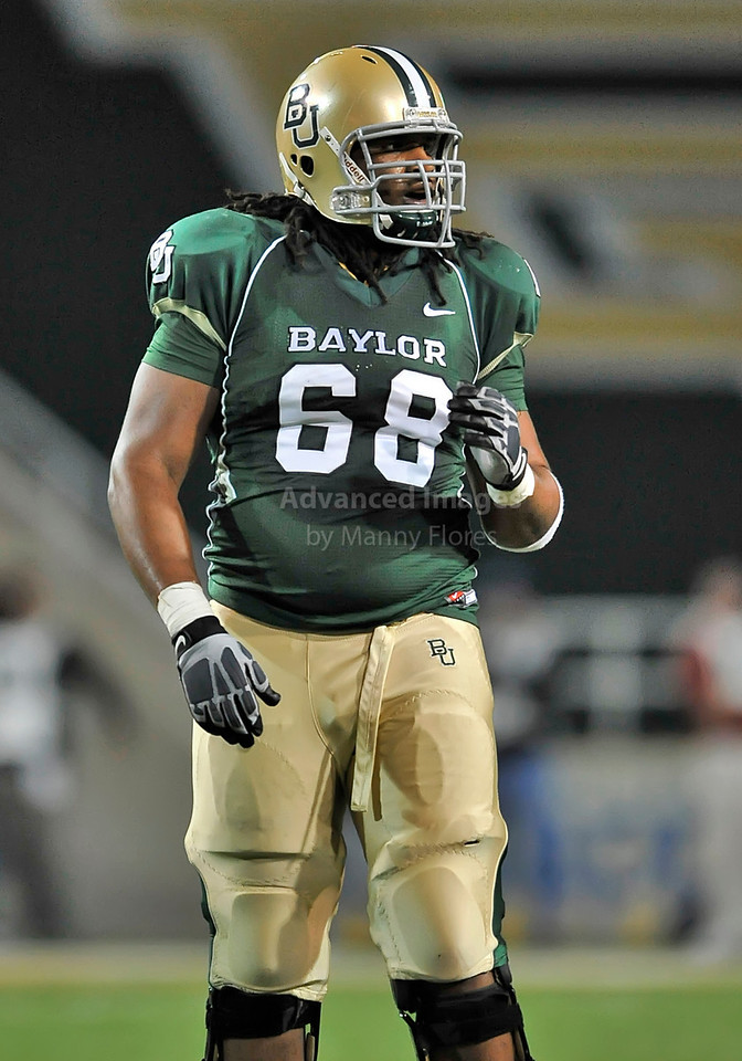 20 Nov 2010:  <br /> Baylor Bears offensive tackle Cyril Richardson #68 in action<br /> of their NCAA football game between the Oklahoma Sooners and the Baylor Bears at Floyd Casey Stadium in Waco, Texas.<br /> Oklahoma wins 53-24.