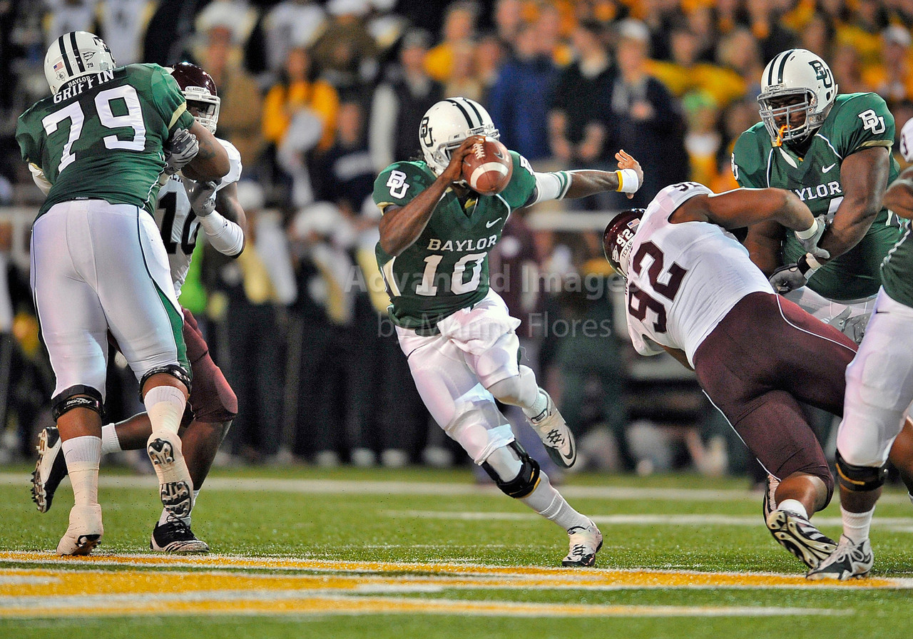 13 Nov 2010:  <br /> Baylor Bears quarterback Robert Griffin III #10 rolls out of the pocket<br /> of their NCAA football game between the Texas A&M Aggies and the Baylor Bears at Floyd Casey Stadium in Waco, Texas.<br /> The Aggies beat the Bears 42-30.