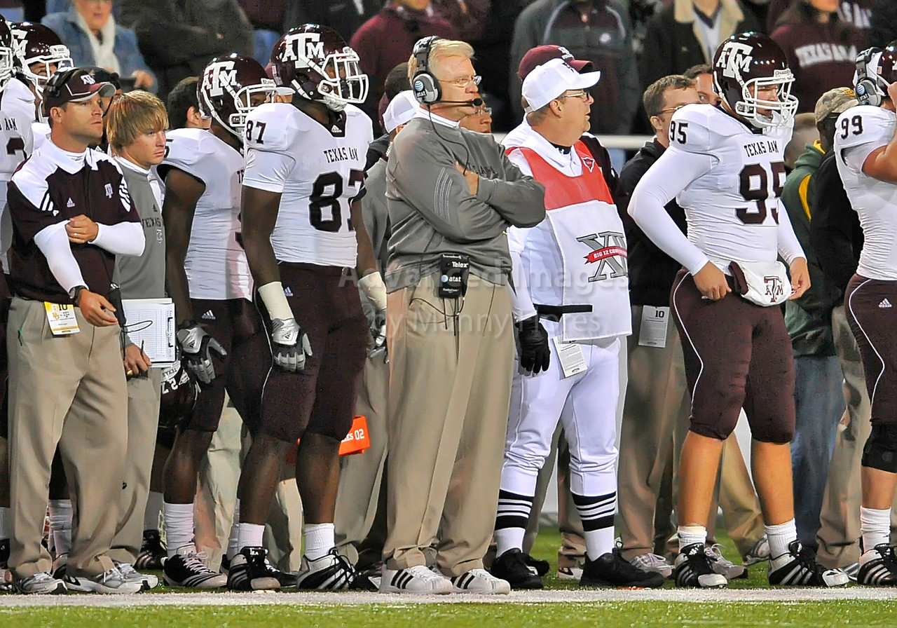 13 Nov 2010:  <br /> Texas A&M head coach Mike Sherman in action of their NCAA football game between the Texas A&M Aggies and the Baylor Bears at Floyd Casey Stadium in Waco, Texas.<br /> The Aggies beat the Bears 42-30.