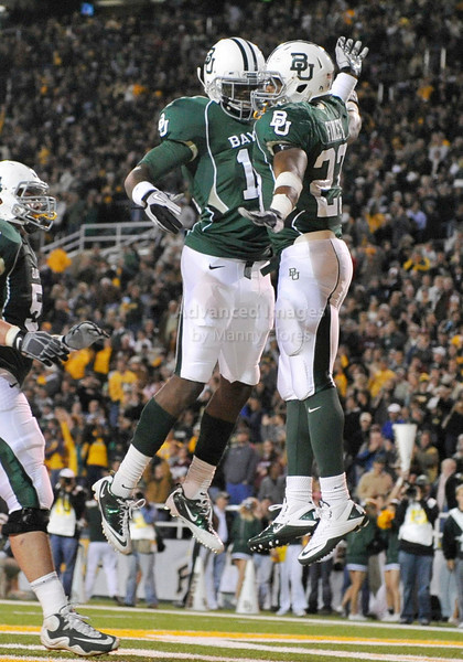 13 Nov 2010:  <br /> Baylor Bears running back Jay Finley #23 and Baylor Bears wide receiver Josh Gordon #12 celebrate a touchdown<br /> of their NCAA football game between the Texas A&M Aggies and the Baylor Bears at Floyd Casey Stadium in Waco, Texas.<br /> The Aggies beat the Bears 42-30.