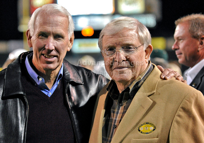 13 Nov 2010:  <br /> Texas A&M legendary head coach R.C. Slocum and Baylor Bears legendary head coach Grant Teaff pose for a picture<br /> of their NCAA football game between the Texas A&M Aggies and the Baylor Bears at Floyd Casey Stadium in Waco, Texas.<br /> The Aggies beat the Bears 42-30.