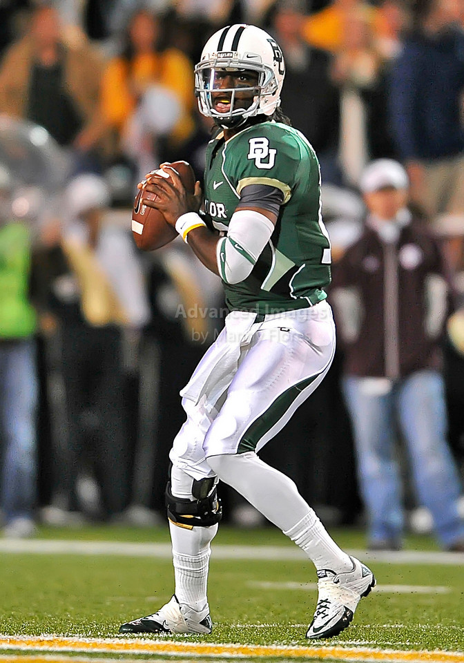 13 Nov 2010:  <br /> Baylor Bears quarterback Robert Griffin III #10 drops back to pass<br /> of their NCAA football game between the Texas A&M Aggies and the Baylor Bears at Floyd Casey Stadium in Waco, Texas.<br /> The Aggies beat the Bears 42-30.
