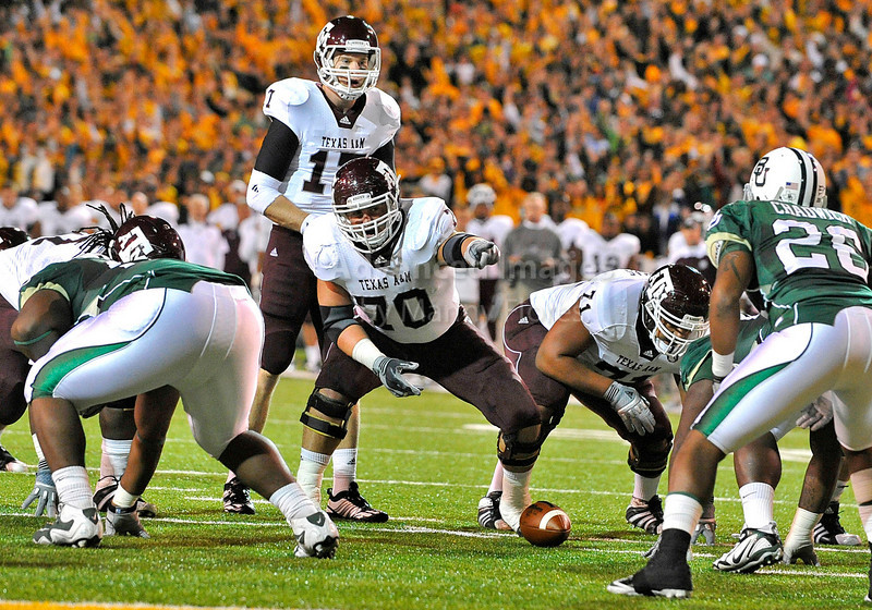 13 Nov 2010:  <br /> Texas A&M Aggies offensive linesman Matt Allen #70 controls who blocks the linebackerof their NCAA football game between the Texas A&M Aggies and the Baylor Bears at Floyd Casey Stadium in Waco, Texas.<br /> The Aggies beat the Bears 42-30.