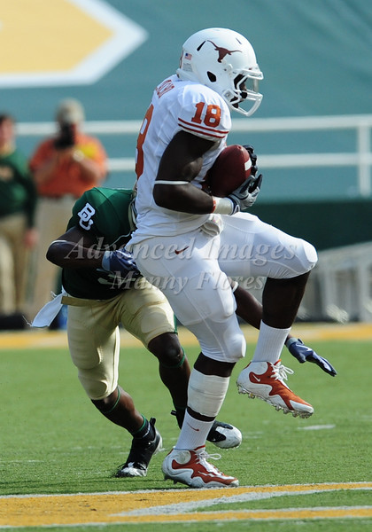November 14th, 2009:  <br /> Texas linebacker Emmanuel Acho #18 gets an interception during a NCAA Football game between the Baylor Bears and theTexas Longhorns at Floyd Casey  Stadium in Waco, TX.  <br /> Texas wins 47-14.