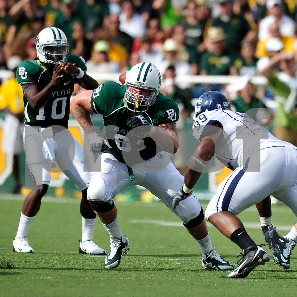 September 19th 2009:  <br /> Baylor guard James Barnard (61)<br /> in action during a NCAA Football game between the Baylor Bears and the University of Connecticut at Floyd Casey  Stadium in Waco, TX.  <br /> Baylor loses to UConn 30-22
