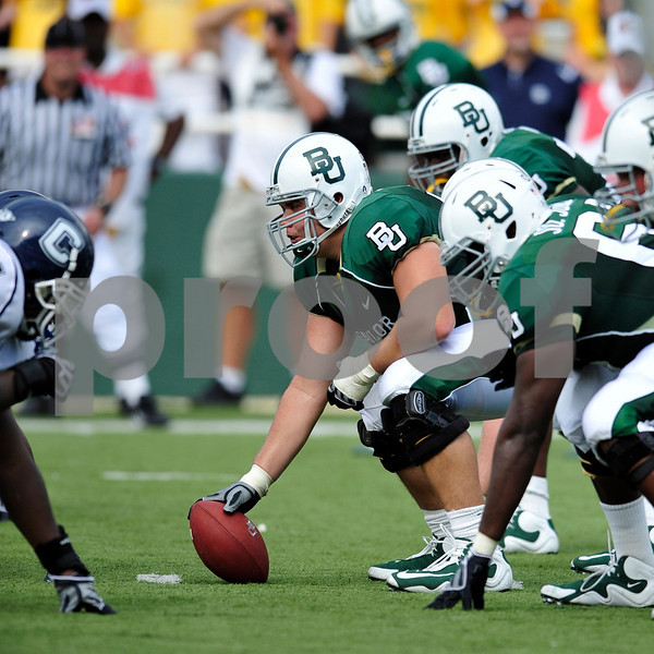 September 19th 2009:  <br /> Baylor center J.D. Walton (55)<br /> in action during a NCAA Football game between the Baylor Bears and the University of Connecticut at Floyd Casey  Stadium in Waco, TX.  <br /> Baylor loses to UConn 30-22