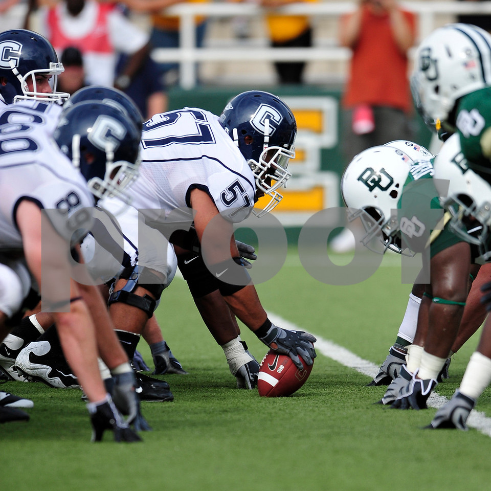 September 19th 2009:  <br /> Connecticut center Muhammad Petrus (57)<br /> in action during a NCAA Football game between the Baylor Bears and the University of Connecticut at Floyd Casey  Stadium in Waco, TX.  <br /> Baylor loses to UConn 30-22