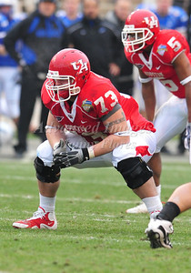 December 31st  2009:   Houston offensive lineman Jordan Shoemaker #73 in action during the Armed Forces Bowl NCAA Football game between the Air Force Falcons and the Houston Cougars at Amon G. Carter Stadium in Ft. Worth, TX.   Air Force wins 47-20