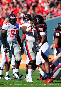02 January 2009:   Texas Tech defensive end Brandon Williams (84) in action with Mississippi offensive lineman Daverin Geralds (72)during the NCAA Cotton Bowl game between the Ole Miss Rebels and the Texas Tech Red Raiders in Dallas,TX.  Ole Miss beat Texas Tech 47-34. Manny Flores/Icon SMI