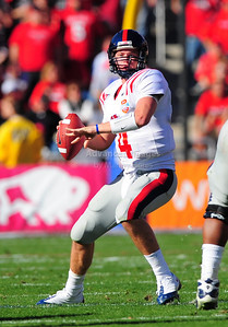 02 January 2009:   Mississippi quarterback Jevan Snead (4) in action during the NCAA Cotton Bowl game between the Ole Miss Rebels and the Texas Tech Red Raiders in Dallas,TX.  Ole Miss beat Texas Tech 47-34. Manny Flores/Icon SMI