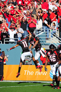 02 January 2009:   Texas Tech safety Darcel McBath (7) & Texas Tech wide receiver Tramain Swindall (11) celebrate a touchdown during the NCAA Cotton Bowl game between the Ole Miss Rebels and the Texas Tech Red Raiders in Dallas,TX.  Ole Miss beat Texas Tech 47-34. Manny Flores/Icon SMI