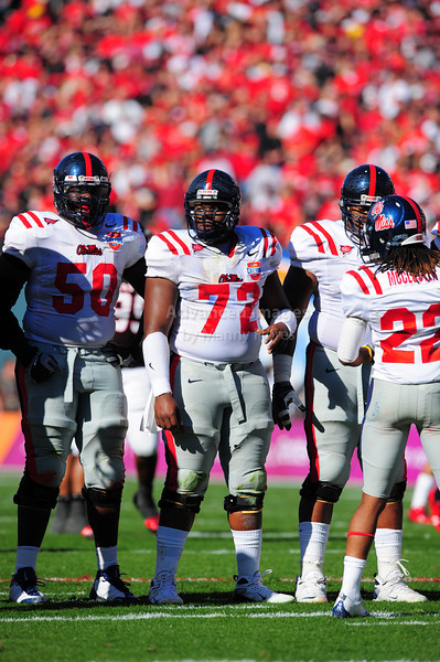 02 January 2009:  <br /> Mississippi offensive lineman Daverin Geralds (72) in action during the NCAA Cotton Bowl game between the Ole Miss Rebels and the Texas Tech Red Raiders in Dallas,TX.  Ole Miss beat Texas Tech 47-34.<br /> Manny Flores/Icon SMI