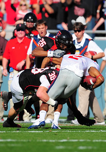 02 January 2009:   Texas Tech safety LaShawn Vation (26) & Texas Tech safety Jordy Rowland (38)in action during the NCAA Cotton Bowl game between the Ole Miss Rebels and the Texas Tech Red Raiders in Dallas,TX.  Ole Miss beat Texas Tech 47-34. Manny Flores/Icon SMI
