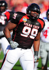 02 January 2009:   Texas Tech defensive tackle Richard Jones (99) in action during the NCAA Cotton Bowl game between the Ole Miss Rebels and the Texas Tech Red Raiders in Dallas,TX.  Ole Miss beat Texas Tech 47-34. Manny Flores/Icon SMI