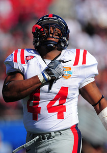 02 January 2009:   Mississippi linebacker Trey Trip (44) in action during the NCAA Cotton Bowl game between the Ole Miss Rebels and the Texas Tech Red Raiders in Dallas,TX.  Ole Miss beat Texas Tech 47-34. Manny Flores/Icon SMI