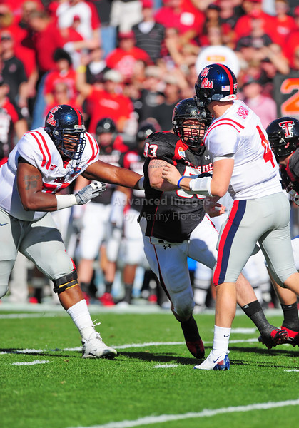 02 January 2009:  <br /> Texas Tech defensive tackle Colby Whitlock (93) in action during the NCAA Cotton Bowl game between the Ole Miss Rebels and the Texas Tech Red Raiders in Dallas,TX.  Ole Miss beat Texas Tech 47-34.<br /> Manny Flores/Icon SMI