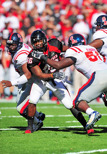 02 January 2009:   Texas Tech defensive end Sandy Riley (46) in action during the NCAA Cotton Bowl game between the Ole Miss Rebels and the Texas Tech Red Raiders in Dallas,TX.  Ole Miss beat Texas Tech 47-34. Manny Flores/Icon SMI