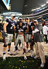 Jan 2nd, 2009 <br /> Mississippi offensive lineman Reid Neely #71, Mississippi defensive tackle Jerrell Powe #57, Mississippi quarterback Jevan Snead #4 & (Offensive MVP) Mississippi running back Dexter McCluster #22 pose for a picture as they celebrate their victory at the 2010 AT&T Cotton Bowl Classic between the Ole Miss Rebels and the Oklahoma State Cowboys at the Cowboy Stadium in Arlington, Texas.<br /> Ole Miss wins 21-7
