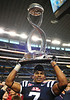 Jan 2nd, 2009 <br /> Mississippi linebacker Patrick Trahan #7 holds up the Cotton Bowl Trophy at the 2010 AT&T Cotton Bowl Classic between the Ole Miss Rebels and the Oklahoma State Cowboys at the Cowboy Stadium in Arlington, Texas.<br /> Ole Miss wins 21-7<br /> (Credit Image: © Manny Flores/Cal Sport Media)