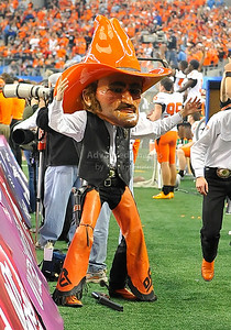 Jan 2nd, 2009  Oklahoma State Mascot Pistol Pete in action at the 2010 AT&T Cotton Bowl Classic between the Ole Miss Rebels and the Oklahoma State Cowboys at the Cowboy Stadium in Arlington, Texas. Ole Miss wins 21-7 (Credit Image: © Manny Flores/Cal Sport Media)