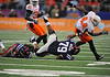 Jan 2nd, 2009 <br /> Oklahoma State linebacker Donald Booker #44 is pulled down by Oklahoma State defensive tackle Andrew Smith #79 at the 2010 AT&T Cotton Bowl Classic between the Ole Miss Rebels and the Oklahoma State Cowboys at the Cowboy Stadium in Arlington, Texas.<br /> Ole Miss wins 21-7<br /> (Credit Image: © Manny Flores/Cal Sport Media)