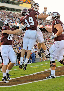 OCT 30 2010:   Texas A&M Aggies tight end Michael Lamothe #19 catches a pass for a touchdown and is celebrated with teammate Texas A&M Aggies quarterback Ryan Tannehill #17 in a game between Texas Tech Red Raiders and Texas A&M Aggies at Kyle Field Stadium in College Station, Texas.  Aggies win 45-27. (Credit Image: © Manny Flores/Cal Sport Media)