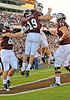 OCT 30 2010:  <br /> Texas A&M Aggies tight end Michael Lamothe #19 catches a pass for a touchdown and is celebrated with teammate Texas A&M Aggies quarterback Ryan Tannehill #17 in a game between Texas Tech Red Raiders and Texas A&M Aggies at Kyle Field Stadium in College Station, Texas.<br />  Aggies win 45-27.<br /> (Credit Image: © Manny Flores/Cal Sport Media)