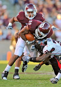 OCT 30 2010:   Texas A&M Aggies running back Bradley Stephens #20 carries the ball for a big gain in a game between Texas Tech Red Raiders and Texas A&M Aggies at Kyle Field Stadium in College Station, Texas.  Aggies win 45-27. (Credit Image: © Manny Flores/Cal Sport Media)