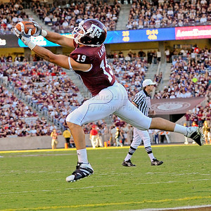OCT 30 2010:   Texas A&M Aggies tight end Michael Lamothe #19 catches a pass for a touchdown int the fourth quarter in a game between Texas Tech Red Raiders and Texas A&M Aggies at Kyle Field Stadium in College Station, Texas.  Aggies win 45-27. (Credit Image: © Manny Flores/Cal Sport Media)