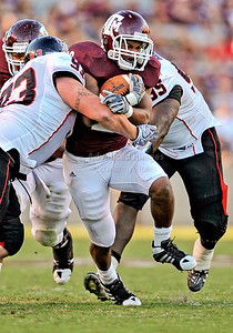 OCT 30 2010:   Texas A&M Aggies running back Bradley Stephens #20 pounds the ball for a short gain in a game between Texas Tech Red Raiders and Texas A&M Aggies at Kyle Field Stadium in College Station, Texas.  Aggies win 45-27. (Credit Image: © Manny Flores/Cal Sport Media)