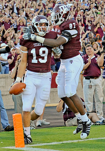 OCT 30 2010:   Texas A&M Aggies tight end Michael Lamothe #19 catches a pass for a touchdown in the fourth quarter and is celebrated by teammate Texas A&M Aggies tight end Nehemiah Hicks #87 in a game between Texas Tech Red Raiders and Texas A&M Aggies at Kyle Field Stadium in College Station, Texas.  Aggies win 45-27. (Credit Image: © Manny Flores/Cal Sport Media)