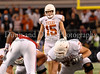 With one second left on the clock, Texas kicker Hunter Lawrence prepares to kick a 46 yard field goal to win the game.
