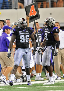 Sept 4 2010:   TCU Horned Frogs defensive end Wayne Daniels #96 celebrates his sack in a game between Oregon State Beavers vs Texas Christian University Frogs at Cowboys Stadium in Arlington, Texas. TCU wins 30-21 (Credit Image: © Manny Flores/Cal Sport Media)