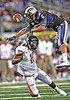 04 Sept 2010:  <br /> TCU Horned Frogs wide receiver Bart Johnson #6 leaps up and tries to get the ball as Oregon State Beavers safety Lance Mitchell #10 interferes in a game between the Oregon State Beavers vs TCU Horned Frogs at Cowboy Stadium in Arlington Texas.<br /> TCU wins 30-21