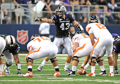 Sept 4 2010:   TCU Horned Frogs linebacker Tank Carder #43 calls plays in a game between Oregon State Beavers vs Texas Christian University Frogs at Cowboys Stadium in Arlington, Texas. TCU wins 30-21 (Credit Image: © Manny Flores/Cal Sport Media)