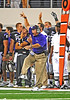 04 Sept 2010:  <br /> TCU Head Coach Gary Patterson calling plays from the sidelines<br /> in a game between the Oregon State Beavers vs TCU Horned Frogs at Cowboy Stadium in Arlington Texas.<br /> TCU wins 30-21