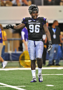 Sept 4 2010:   TCU Horned Frogs defensive end Wayne Daniels #96 in action in a game between Oregon State Beavers vs Texas Christian University Frogs at Cowboys Stadium in Arlington, Texas. TCU wins 30-21 (Credit Image: © Manny Flores/Cal Sport Media)
