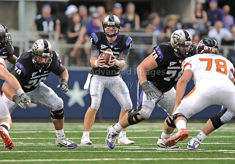 Sept 4 2010:  <br /> TCU Horned Frogs quarterback Andy Dalton #14 in action<br /> in a game between Oregon State Beavers vs Texas Christian University Frogs at Cowboys Stadium in Arlington, Texas.<br /> TCU wins 30-21<br /> (Credit Image: © Manny Flores/Cal Sport Media)
