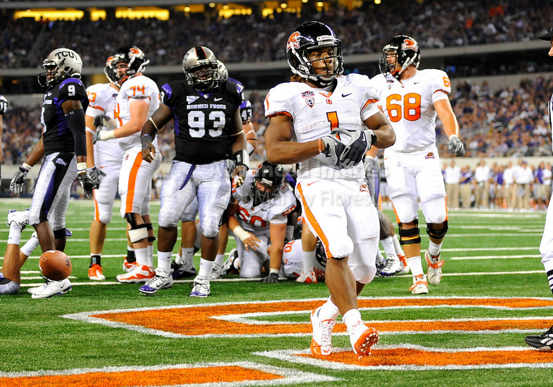 Sept 4 2010:  <br /> Oregon State Beavers running back Jacquizz Rodgers #1 runs for a touchdown in a game between Oregon State Beavers vs Texas Christian University Frogs at Cowboys Stadium in Arlington, Texas.<br /> TCU wins 30-21<br /> (Credit Image: © Manny Flores/Cal Sport Media)