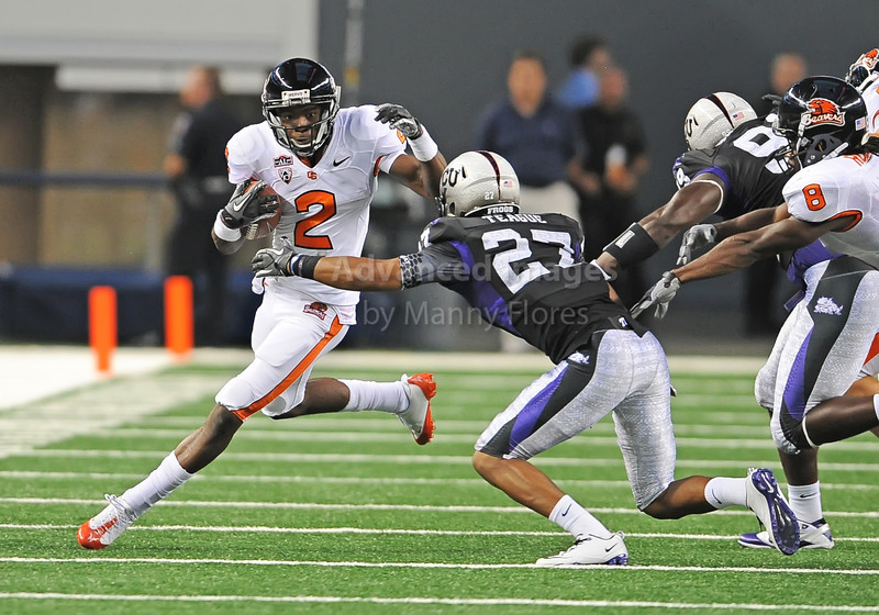 Sept 4 2010:  <br /> Oregon State Beavers wide receiver Markus Wheaton #2 tries to get by TCU Horned Frogs cornerback Jason Teague #27 <br /> in a game between Oregon State Beavers vs Texas Christian University Frogs at Cowboys Stadium in Arlington, Texas.<br /> TCU wins 30-21<br /> (Credit Image: © Manny Flores/Cal Sport Media)