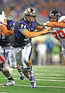 Sept 4 2010:   TCU Horned Frogs defensive tackle D.J. Yendrey #94 rushes the QB in a game between Oregon State Beavers vs Texas Christian University Frogs at Cowboys Stadium in Arlington, Texas. TCU wins 30-21 (Credit Image: © Manny Flores/Cal Sport Media)