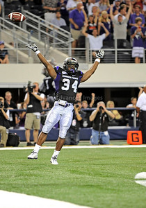 Sept 4 2010:   TCU Horned Frogs running back Ed Wesley #34 celebrates after getting a touchdown in a game between Oregon State Beavers vs Texas Christian University Frogs at Cowboys Stadium in Arlington, Texas. TCU wins 30-21 (Credit Image: © Manny Flores/Cal Sport Media)