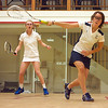 Morgan Smith (F&M) and Hayley Milbourn (Amherst)<br /> <br /> This photo was published in the October 2010 issue of Squash Magazine (page 39).
