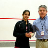 Tournament Director Craig Thorpe-Clark presenting Harvard Captain Alisha Mashruwala with the 2011 Howe Cup finalist trophy.