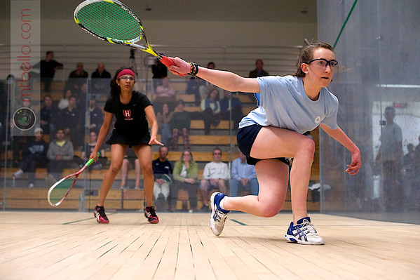 2011 College Squash Individual Championships Millie Tomlinson (Yale) and Nirasha Guruge (Harvard)  This photo was published in the March 2011 issue of Squash Magazine (page 34).
