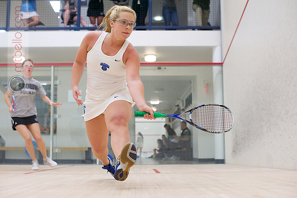 Skylar Dickey (Columbia) and Alexandra White (Brown)  - 2011 Ivy League Scrimmages<br /> <br /> Published on page 30 of Squash Magazine (October 2012)