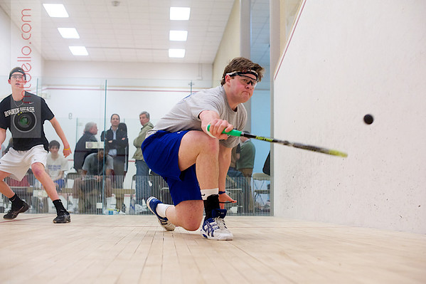 Trey Simpson (Colby)  and Andrew Hilboldt (Bowdoin)<br /> <br /> This photo was published in the March 2011 issue of Squash Magazine (page 34).
