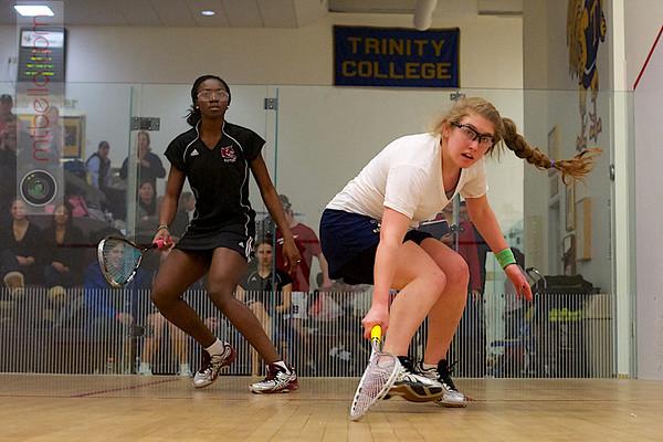 Katie Wymard (Trinity) and Rakey Drammeh (Bates)