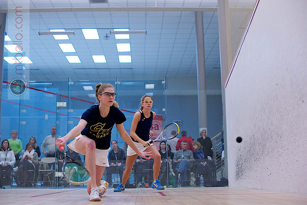 2012 Women's National Team Championships (Howe Cup): Lauren Mathieu (George Washington) and Jennifer Hyslip (Conn College)<br /> <br /> Published on page 38 of Squash Magazine (March 2012)
